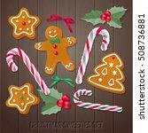 set of gingerbread christmas... | Shutterstock .eps vector #508736881