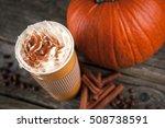 pumpkin spice latte in a paper... | Shutterstock . vector #508738591