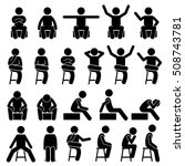 sitting on chair poses postures ... | Shutterstock .eps vector #508743781