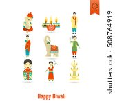 diwali. indian festival icons.... | Shutterstock .eps vector #508764919