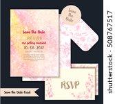 gentle wedding cards with pink... | Shutterstock .eps vector #508767517
