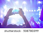 people holding smart phones and ... | Shutterstock . vector #508780399