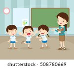 classroom with teacher and... | Shutterstock .eps vector #508780669