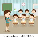 classroom with teacher and... | Shutterstock .eps vector #508780675