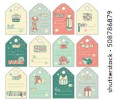 cute gift tags with cartoon... | Shutterstock . vector #508786879