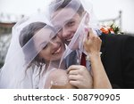 portrait of happy newly married ... | Shutterstock . vector #508790905