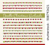 set of cute doodle christmas... | Shutterstock . vector #508792621
