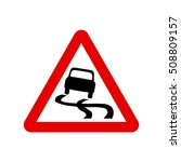 slippery road   vector sign | Shutterstock .eps vector #508809157