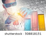 double exposure of scientist... | Shutterstock . vector #508818151