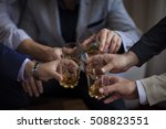 hands of mans with glasses of...   Shutterstock . vector #508823551