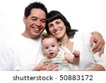 happy latin family on a white... | Shutterstock . vector #50883172