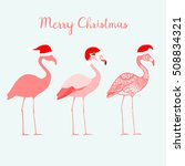 Three Flamingos With Santa...