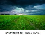 Green field in summer - stock photo