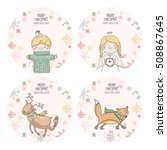 four christmas stickers with... | Shutterstock .eps vector #508867645