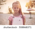 girl relaxing on the beach on a ...   Shutterstock . vector #508868371