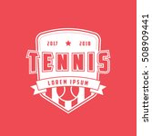 tennis emblem flat icon on red... | Shutterstock .eps vector #508909441