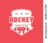 hockey emblem flat icon on red... | Shutterstock .eps vector #508914784