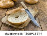 plain bagel  selective focus ... | Shutterstock . vector #508915849
