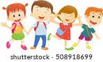 children go to school with a... | Shutterstock . vector #508918699