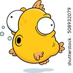 Cartoon illustration of a fish with google eyes.  - stock vector