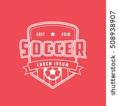 soccer emblem line icon on red... | Shutterstock .eps vector #508938907
