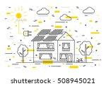 sun electricity house vector... | Shutterstock .eps vector #508945021