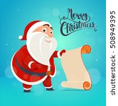 santa claus holds a list of... | Shutterstock .eps vector #508949395