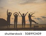 silhouette group of people in... | Shutterstock . vector #508992409
