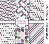 winter seamless patterns set....   Shutterstock .eps vector #509009764
