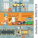 car repair service infographics.... | Shutterstock .eps vector #509017519
