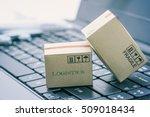 light brown cardboard boxes on... | Shutterstock . vector #509018434
