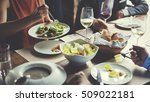 business people dining together ... | Shutterstock . vector #509022181