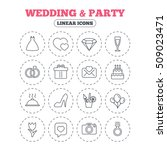 wedding and party icons. dress  ... | Shutterstock .eps vector #509023471