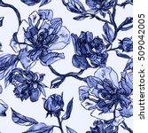 Blue Floral Pattern Watercolor...