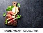 fresh melon with prosciutto and ... | Shutterstock . vector #509060401