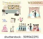 set of wedding ceremony. retro... | Shutterstock .eps vector #509062291