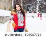 young and pretty girl skating...   Shutterstock . vector #509067799
