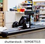 empty cash desk with terminal... | Shutterstock . vector #509087515