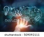 businessman holding manuscript... | Shutterstock . vector #509092111