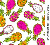 dragon  fruit pattern. pitaya ... | Shutterstock .eps vector #509101489