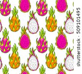dragon fruit pattern. pitaya ... | Shutterstock .eps vector #509101495