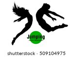 silhouette of a jumping man and ... | Shutterstock .eps vector #509104975