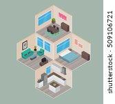 isometric house rooms  home set | Shutterstock .eps vector #509106721