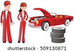 auto mechanics and racing car. | Shutterstock .eps vector #509130871
