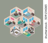 isometric house rooms  home set | Shutterstock .eps vector #509154085