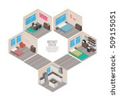 isometric house rooms | Shutterstock .eps vector #509155051