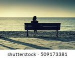 silhouette of young woman... | Shutterstock . vector #509173381