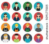 set of avatar flat design icons ... | Shutterstock .eps vector #509177005