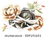 photo of flowers and birds.... | Shutterstock . vector #509191651