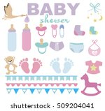 baby shower set. vector... | Shutterstock .eps vector #509204041